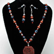 3578 Jasper And Agate Long Necklace And Earrings Set Poster