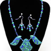 3582 Lapis Lazuli Malachite Necklace And Earring Set Poster