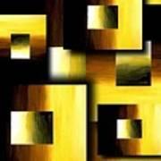 3d Golden Squares Poster