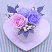 A Gift Of Preservrd Flower And Clay Flower Arrangement, Blue And Poster