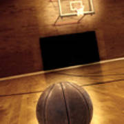 Basketball And Basketball Court Poster