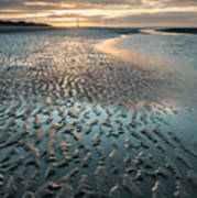 Beautiful Beach Coastal Low Tide Landscape Image At Sunrise With Poster
