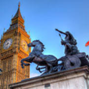 Big Ben And Boadicea Statue  Poster
