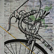 Bike 2 On Map Poster by William Cauthern