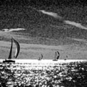 4 Boats On The Horizon Bw Poster
