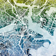 Boston Massachusetts Street Map Poster