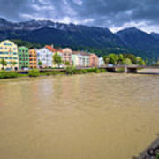 City Of Innsbruck Colorful Inn River Waterfront Panorama Poster