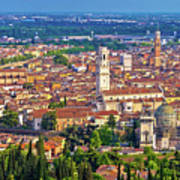 City Of Verona Old Center And Adige River Aerial Panoramic View Poster