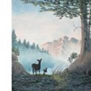 Deer In The Mist Poster