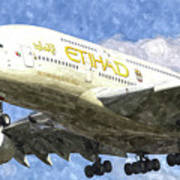 Etihad Airlines Airbus A380 Art Poster
