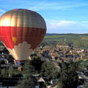 Hot Air Balloon Over Burgundy Poster
