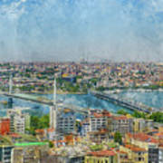 Istanbul Turkey Cityscape Digital Watercolor On Photograph Poster