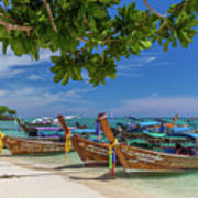 Long-tail Boats, The Andaman Sea And Hills In Ko Phi Phi Don, Th Poster