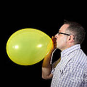 Man Inflating Balloon Poster