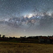 Milky Way Over A Farm Shed Poster