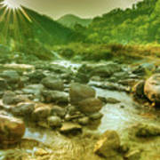 Nice River Water Flowing Through Rocks At Dawn Poster