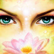 Pair Of Beautiful Blue Women Eyes Beaming Up Enchanting From Behind A Blooming Rose Lotus Flower Poster