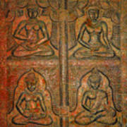 4 Panels Buddhas Wall Carving With Antique Filter Poster