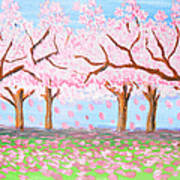 Pink Garden, Oil Painting Poster