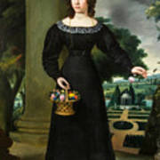 Portrait Of A Young Lady With Flower Basket Poster