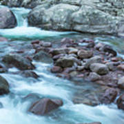 Slow Shutter Photo Of Figarella River At Bonifatu In Corsica Poster