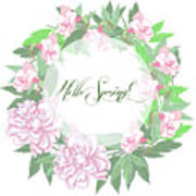 Spring  Background With White And Pink Peony Poster