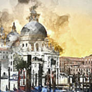 Venice Italy Digital Watercolor On Photograph Poster