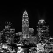 View Of Charlotte Skyline Aerial At Sunset Poster