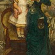 Woman With Child And Goldfish Poster