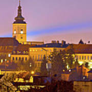 Zagreb Historic Upper Town Night View Poster