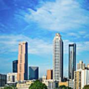 Atlanta Downtown Skyline With Blue Sky Poster