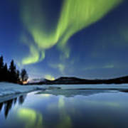 Aurora Borealis Over Sandvannet Lake Poster