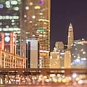 Chicago Illinois Tilt Effect Cityscape At Night Poster