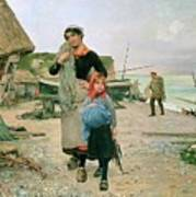 Fisherfolk Returning With Their Nets 1882 Henry Bacon Poster