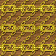 Iron Chains With Wood Seamless Texture Poster