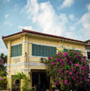 Old French Colonial Architecture In Kampot Town Street Cambodia Poster