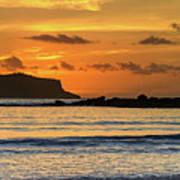 Orange Sunrise Seascape Poster