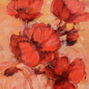 Poppy Flowers Handmade Oil Painting On Canvas Poster