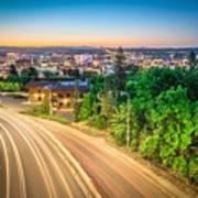 Spokane Washington City Skyline And Streets Poster