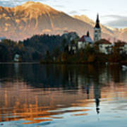 Sunset Over Lake Bled Poster