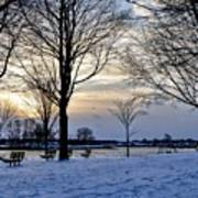 Sunset Over Obear Park In Snow Poster
