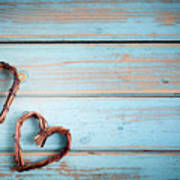 Two Hearts On Wooden Background Poster