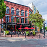 Outdoor Cafe In Gastown, Vancouver, British Columbia, Canada Poster