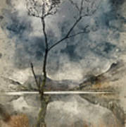 Watercolour Painting Of Beautiful Autumn Fall Landscape Image Of Poster