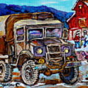 50's Dodge Truck Red Wood Barn Outdoor Hockey Rink  Art Canadian Winter Landscape Painting C Spandau Poster
