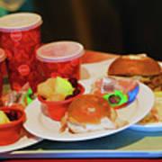 50's Style Food Malt Hamburger Tray  Poster