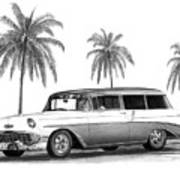 56 Chevy Wagon Poster