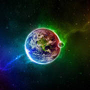 56996 3d Space Scene Colorful Digital Art Earth Poster