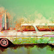 57 Chevy Nomad Wagon Blowing Beach Sand Poster