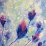 6 Blue Flowers In Breeze Poster